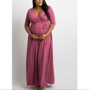 Mauve Sash Tie Wrap Plus Maternity Maxi Dress